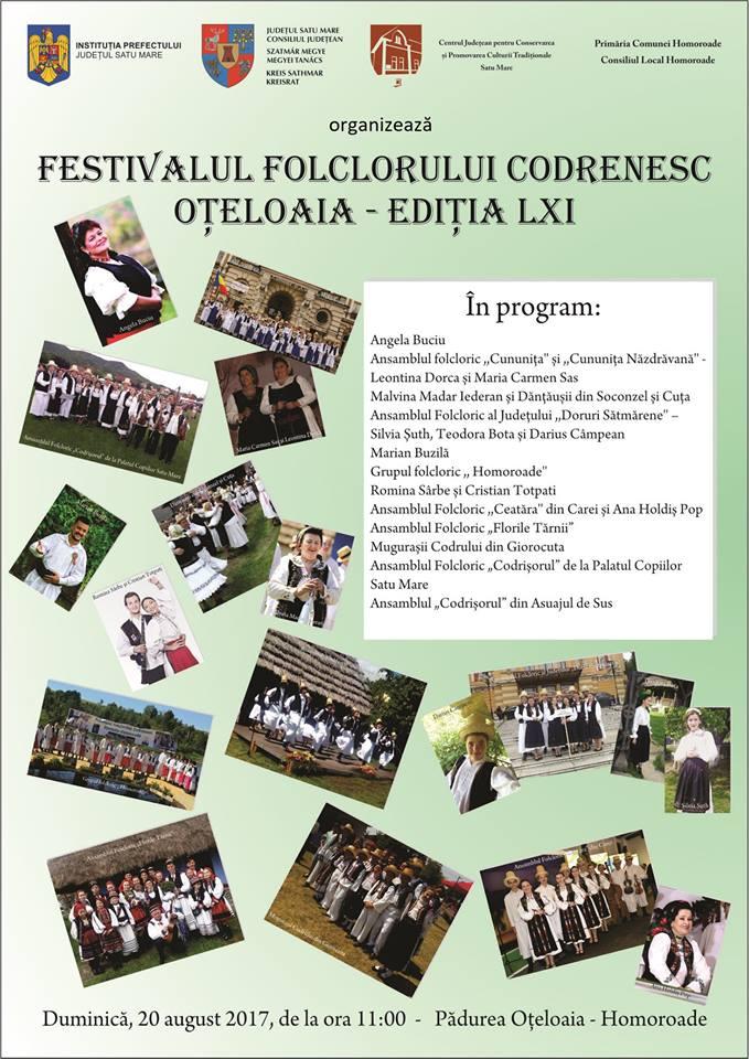 """Festivalul Folclorului Codrenesc """"Oțeloaia"""" – ediția LXI"""